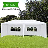 Crazyworldstore 10'x 20' Outdoor Canopy Wedding Party Tent,with 4 Removable Sidewalls Gazebo Heavy Duty Pavilion Cater Event Side Walls