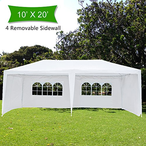 Crazyworldstore 10'x 20' Outdoor Canopy Wedding Party Tent,with 4 Removable Sidewalls Gazebo Heavy Duty Pavilion Cater Event Side Walls by Crazyworldstore
