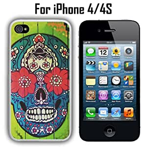 Sugar Skull On Wood Custom Case/ Cover/Skin *NEW* Case for Apple iPhone 4/4S - White - Rubber Case (Ships from CA) Custom Protective Case , Design Case-ATT Verizon T-mobile Sprint ,Friendly Packaging - Slim Case