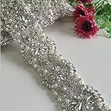 ShinyBeauty Silver Rhinestone Organza Bridal Sash Belt for Wedding Dress,Off White RA249