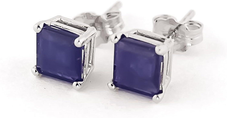 Sólido 14KT oro blanco Forever quilates pendientes para mujer color–I-J claridad–SI1Natural azul zafiro pendientes con corte princesa 3,00quilates piedras preciosas studs