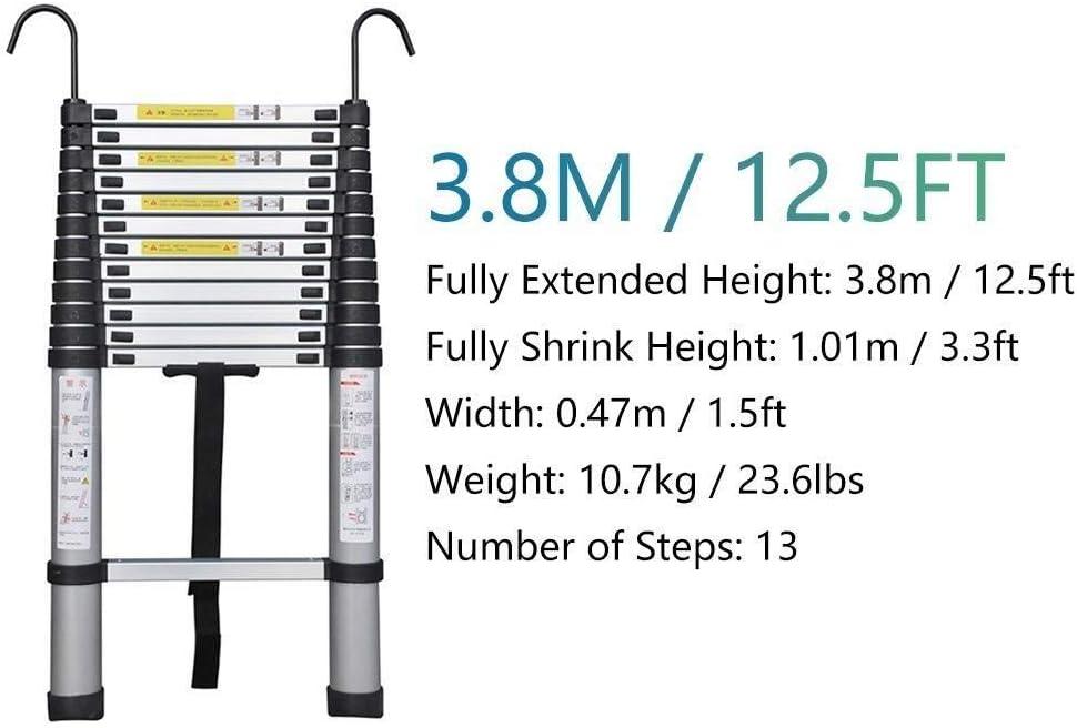 Size : 2.6m//8.5ft Multi-Purpose-Erweiterung Leitern for industrielle Haushalt t/äglich oder Notfall Laden 330 Lbs YUEDAI Aluminium Teleskopleiter mit Haken und Anti-Rutsch-F/ü/ße