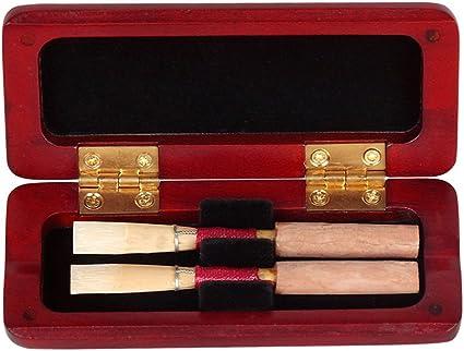 Tbest Oboe Reed Case, Estuche de Caja de Cañas Oboe Madera de Arce Funda Oboe Reed Reeds Caja de Almacenamiento para 2 Pcs Oboe 9.5 x 4 x 1.5cm (No Incluye Cañas):