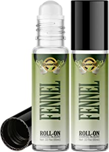 Fennel Roll On Essential Oil Rollerball (2 Pack - Pure Fennel Oil) Pre-diluted with Glass Roller Ball for Aromatherapy, Kids, Children, Adults Topical Skin Application - 10ml Bottle