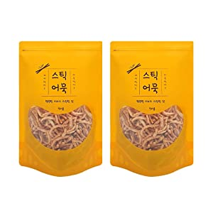 Korean Seafood Jerky – Dry Fish Snacks – Fried Fish Cake - Crispy Dried Seafood Snack - Grinded Fish in Oil – High Protein Low Fat Fish Snack, Beer Snack – Korean Food Stick Emouk Snack 70g X 2