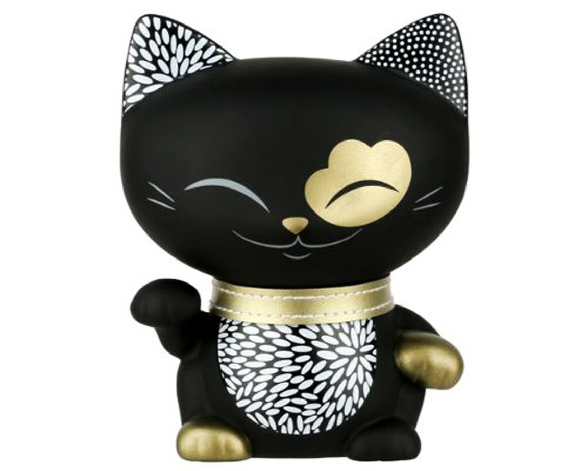 Happy Sales Mani The Lucky Cat Maneki Neko Fortune Cat Black HSMCS008