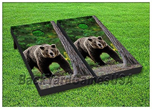 Cornhole Beanbag Toss Game WバッグGrizzly Bear Nature Forest木製ボードセット114   B071CK9JC5
