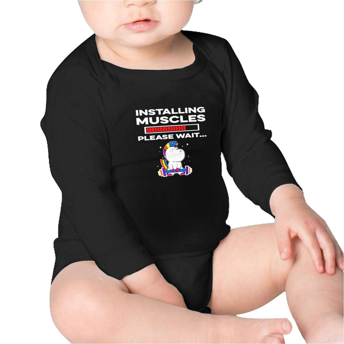 Installing Muscle Please Wait Unicorn Toddler Cotton,Long Sleeve Baby Romper
