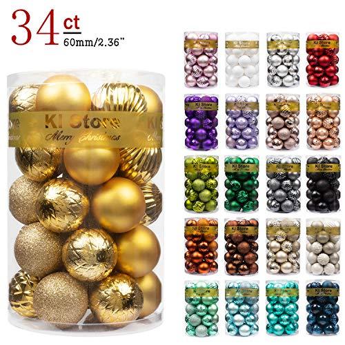 KI Store 34ct Christmas Ball Ornaments Shatterproof Christmas Decorations Tree Balls for Holiday Wedding Party Decoration, Tree Ornaments Hooks Included 2.36