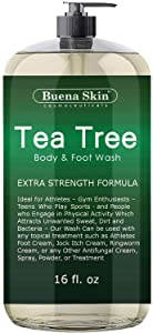 Tea Tree Oil Body Wash - Antifungal Soap for Acne, Body Odor, Foot & Toenails - Antibacterial Shower Soap for Bacteria, Athletes Foot, Eczema, Ringworm & Jock Itch Treatment In Men & Women Buena Skin
