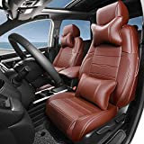 Kust zd5082w Car seat Covers,Brown Custom Fit Seat Covers Fit for Honda 2017 CRV,Leather Seat Cover for SUV Full Set with 4 Saddle Covers,4 Back Covers,5 Headrest Covers