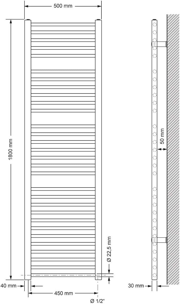 Wei/ß Heizk/örper Handtuchw/ärmer Handtuchtrockner gebogen mit Seitenanschluss ECD Germany Badheizk/örper 400 x 1200 mm