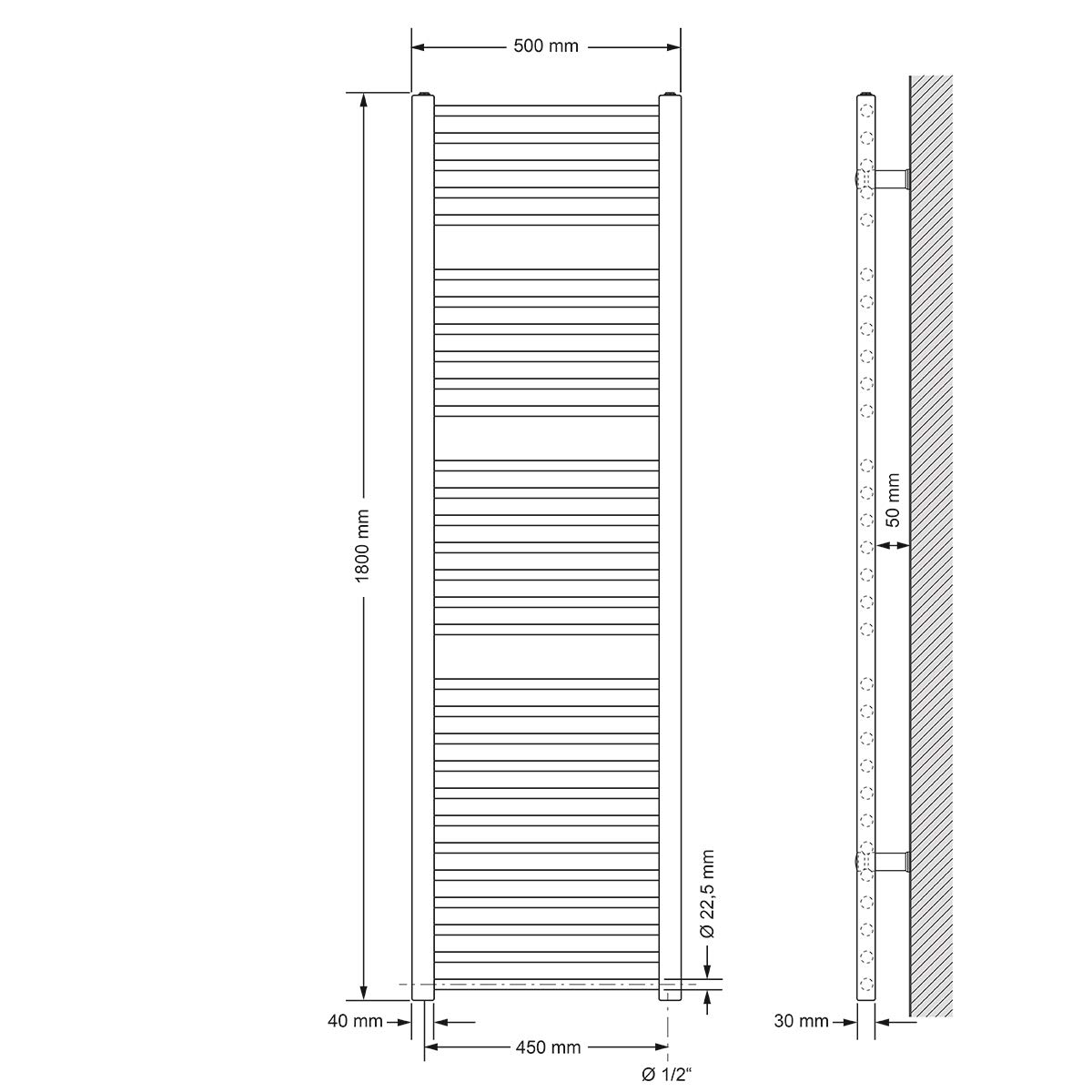 ECD Germany Radiatore Scaldasalviette Sahara Curvo con Chiusura Centrale Radiatore Scaldasalviette Asciugabiancheria 500x1200 mm Cromato 500 x 1200 mm