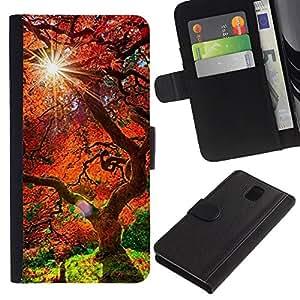 LECELL--Cuero de la tarjeta la carpeta del tirón Smartphone Slots Protección Holder For Samsung Galaxy Note 3 III -- Árbol rojo viejo --