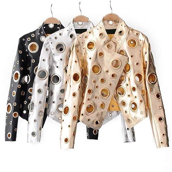 Cool Golden Leather Jacket Women Metal Circle Moto Coat Punk ...