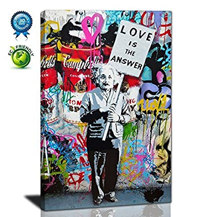 Graffiti Artlove Is The Answer Large Wall Art Colorful Banksy Street
