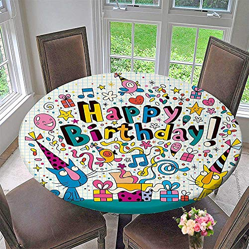 Round Fitted Tablecloth Math Note Pad Inspired s Cats Present Blue and White for All Occasions 63