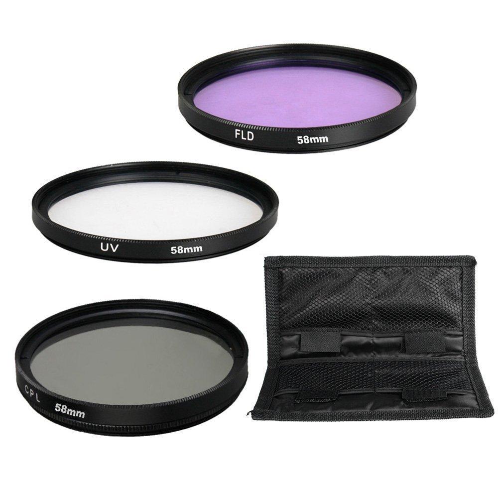 58MM UV CPL FLD Lens Filter Accessory Kit for Canon EOS Rebel T6i T6 T5i T5 T4i T3i SL1 DSLR Camera
