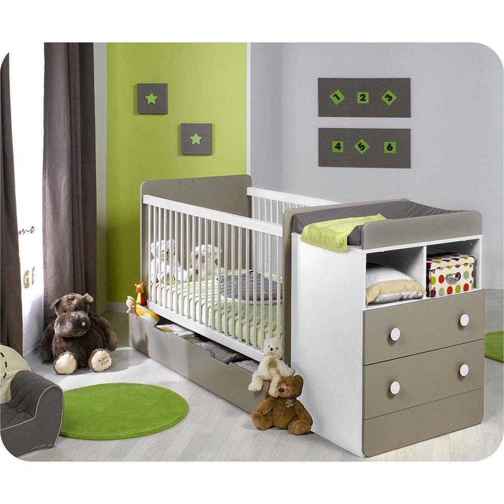 Paket Mitwachsendes Babybett Malte weiß Lein mit Matratze
