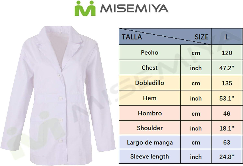 MISEMIYA Bata Cuello Solapa M/ÉDICOS Enfermera Dentista Uniforme Laboral M/édico Enfermera Veterinaria SANIDAD HOSTELER/ÍA Ref-8164