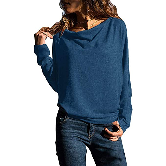 VJGOAL Mujer otoño Moda Casual Manga Larga Color sólido Sudaderas Loose Fit Tops Blusas Camisa(