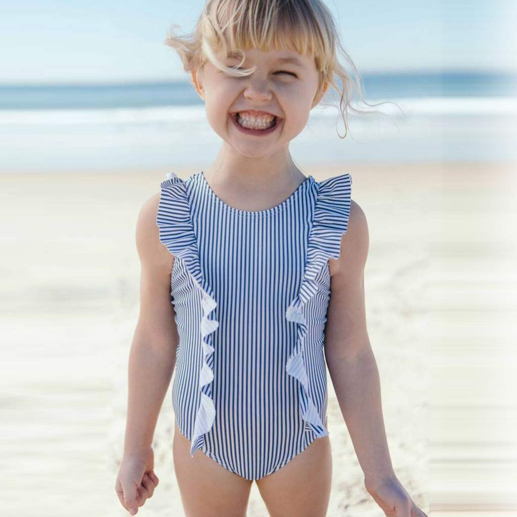 f3f3d6ed5a Amazon.com: Toddler Kids Baby Girl One Piece Swimsuit Ruffles Sleeve  Striped Bathing Suit Bikini Swimwear: Clothing