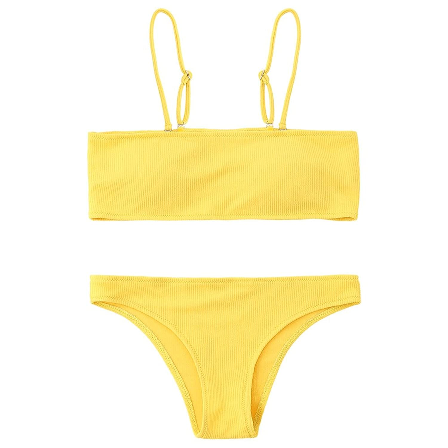 ZAFUL Women's Two Piece Cami Strap Solid Color Bandeau Ribbed Swimsuit Bikini Set