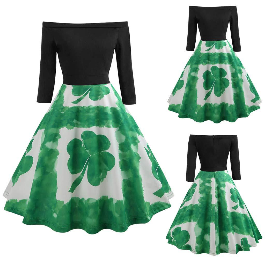... con Hombros St. Patricks TréBol IrlandéS Retro 1950S Partido Cocktail Rockailly Swing Dress Vestido De Fiesta Elegante: Amazon.es: Ropa y accesorios