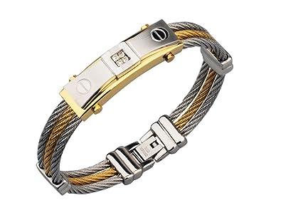 6a4a57e9ed1e Amazon.com  EuroLux Pulseras de Hombre de Oro Titanium y Acero ...