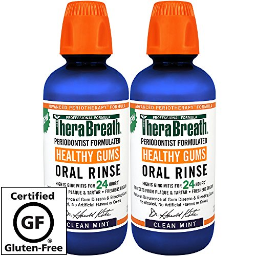 TheraBreath 24 Hour Healthy Gums Periodontist Formulated Oral Rinse, 16 Ounce (Pack of 2) (Best Treatment For Gum Recession)