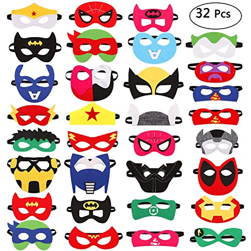 32 Pieces Superhero Masks Super Hero Felt Mask Birthday Party Favors for Kids Boys Girls -