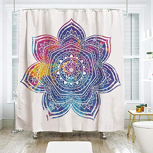 - scocici DIY Bathroom Curtain Personality Privacy Convenience,Lotus,Watercolor Stylized Vivid Mandala Ethnic Tribal Arabesque Artwork Decorative,Violet Blue Pink Earth Yellow,78.7