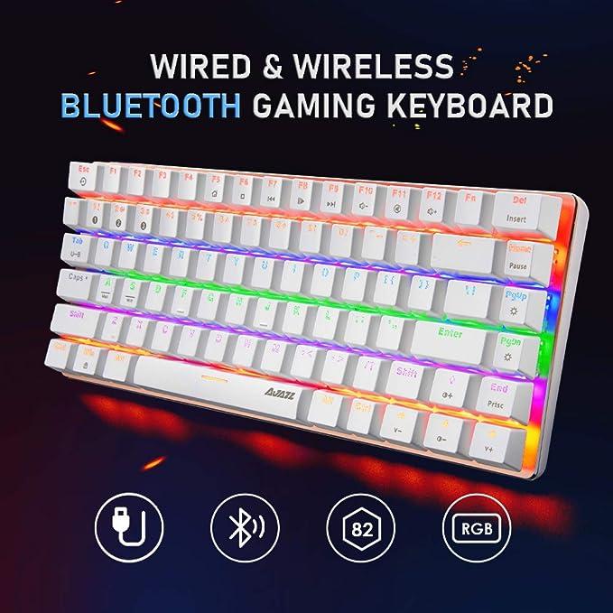 Teclado mecánico para Juegos con Bluetooth, Dos Modos inalámbricos y con Cable, 3 Canales de conexión Bluetooth, 18 RGB con retroiluminación, 82 ...