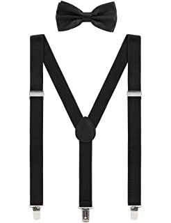 Suspenders Men/'s clip-on Y back and Bow Tie Retro Steampunk Costume Tux Prom USA