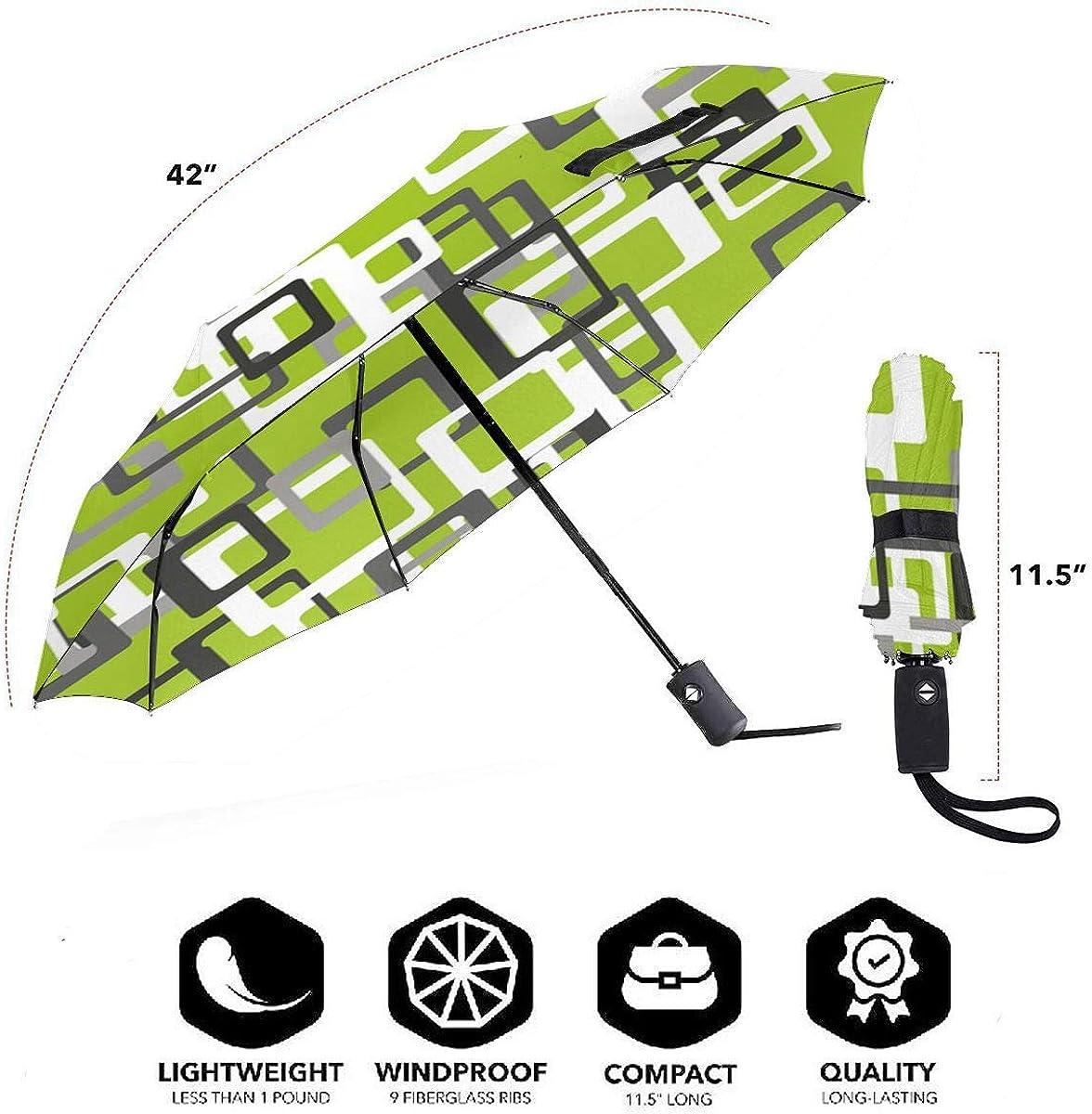 Green Square Corner Square Pattern Compact Travel Umbrella Windproof Reinforced Canopy 8 Ribs Umbrella Auto Open And Close Button Customized