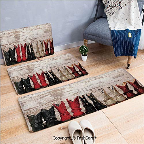 (FashSam 3 Piece Flannel Bath Carpet Non Slip American Legend Cowgirl Leather Boots Rustic Wild West Theme Folkart Print Front Door Mats Rugs for Home(W15.7xL23.6 by W19.6xL31.5 by W35.4xL62.9))