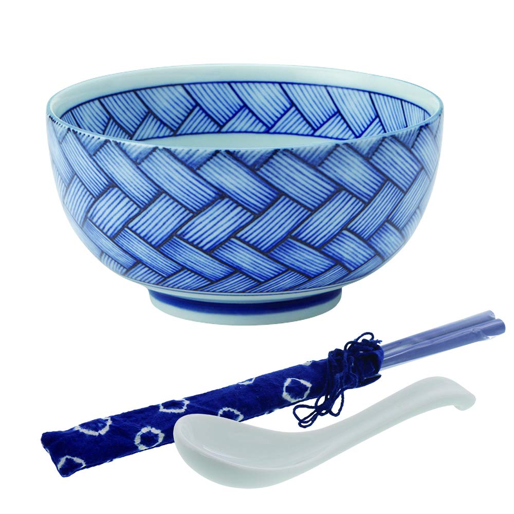 Zen Table Japan Ajiromon Multi-Purpose Donburi Bowl with Chopsticks and Soup Spoon Made in Japan Large