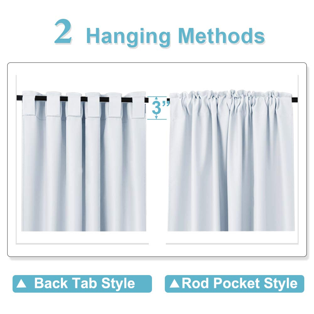 RYB HOME Curtains Drapes Thermal Insulated Panels (42'' x 45'', Grayish White, Double Pieces) Back Tab & Rod Pocket Used with Curtain Rod/Hooks Blackout Curtains for Living Room Window Dressing by RYB HOME (Image #5)
