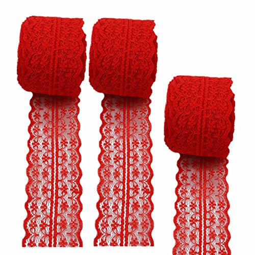 (3 Rolls 10 Yards Floral Lace Ribbon Lace Trim Webbing Fabric for DIY Jewelry Making Craft Clothes Accessories Gift Wrapping (Red))