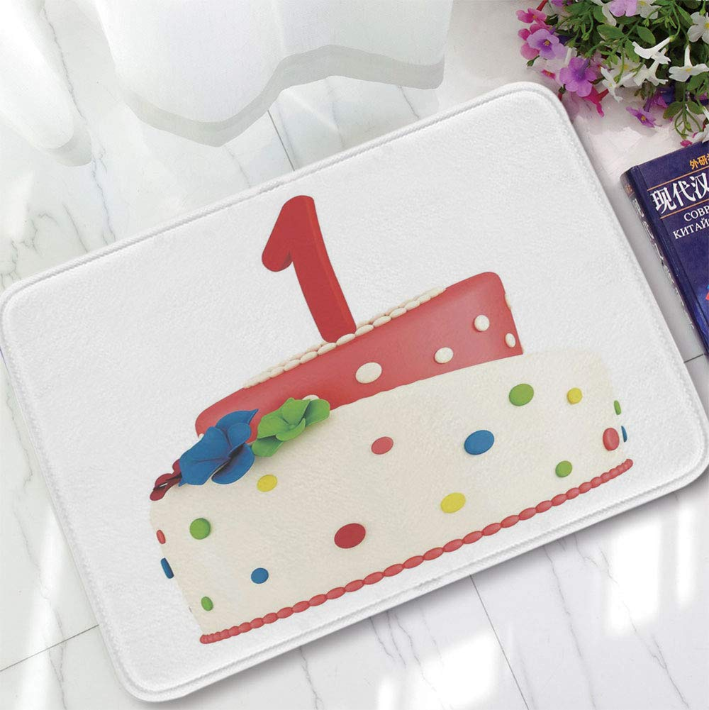 YOLIYANA Short Fur Floor Mat,1st Birthday Decorations,for Home Meeting Room,15.75''x23.62'',Baby Party Celebration with Colorful Dots