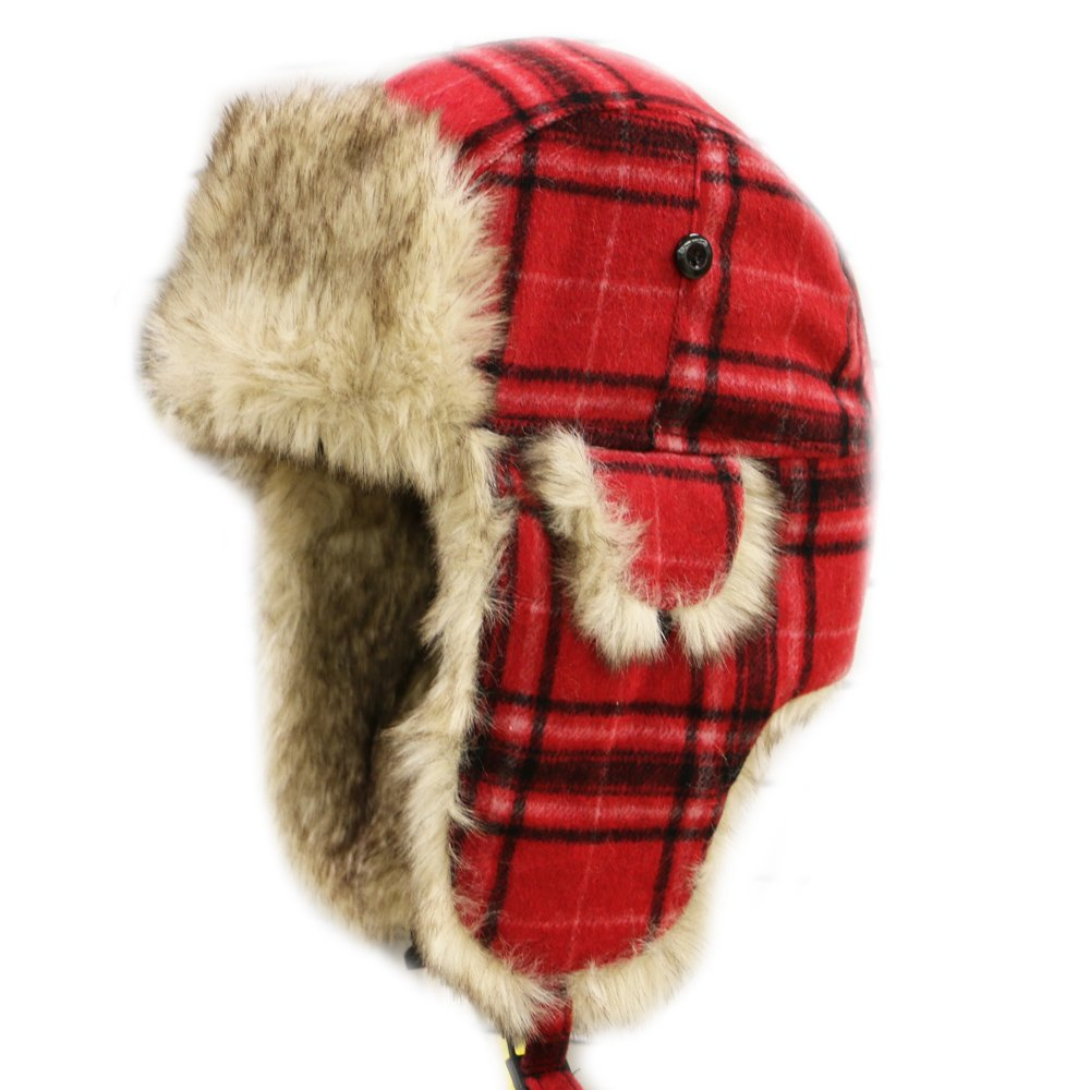 CITY HUNTER W680 Unisex Wool Plaid Trapper Hat Multi Colors (Plaid Red)