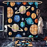 Galaxy anti slip Shower curtain bath mat set Cute Galaxy Space Art Solar System Planets Mars Mercury Uranus Jupiter Venus Kids Print Fabric Bathroom Decor Set with Hooks Multi