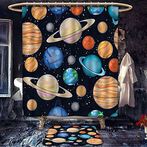 Galaxy anti slip Shower curtain bath mat set Cute Galaxy Space Art Solar System Planets Mars Mercury Uranus Jupiter Venus Kids Print Fabric Bathroom Decor Set with Hooks Multi by cobeDecor