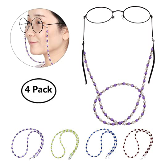 Glasses Strap Holder Beaded Eyeglass Chains Cord Sunglasses Strap for Women Girl Pack of 4
