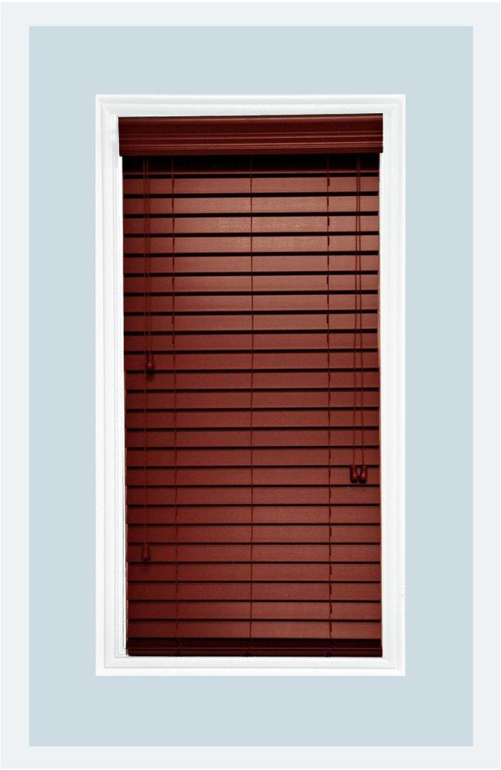 Delta Blinds Supply Custom-Made, Faux Wood Horizontal Window Blinds, 2 Inch Slats, Mahogany, Inside Mount