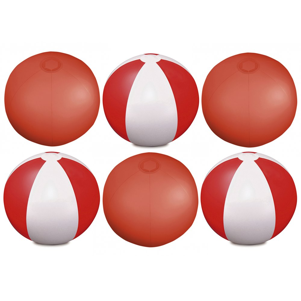 eBuyGB Pack of 6 Inflatable Colour Beach Ball 22 cm / 9'' - Beach Pool Game (Transparent Red)
