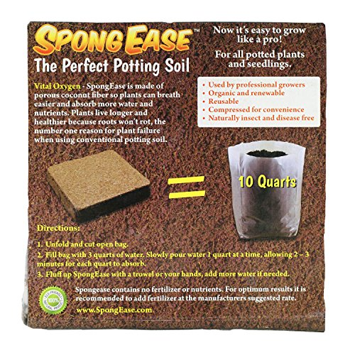 10 Qt Seed - SpongEase Potting Soil - 10 Quart Pop up Bag - Pro Coco Coir Potting Soil for Plants, Seed Starting, Cuttings