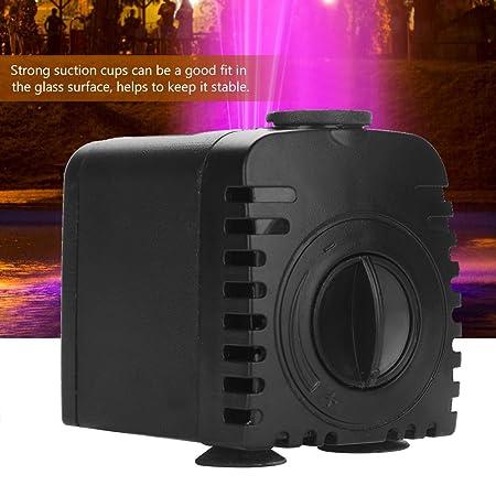 Bomba sumergible de agua (8W 600L/H), Ultra Quiet 12 Bomba LED colorida con 2 boquillas para fuente de interior, piscina, jardín, estanque, acuario, acuario ...