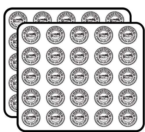 (British Virgin Islands Grunge Rubber Stamp Sticker for Scrapbooking, Calendars, Arts, Kids DIY Crafts, Album, Bullet Journals 50 Pack)