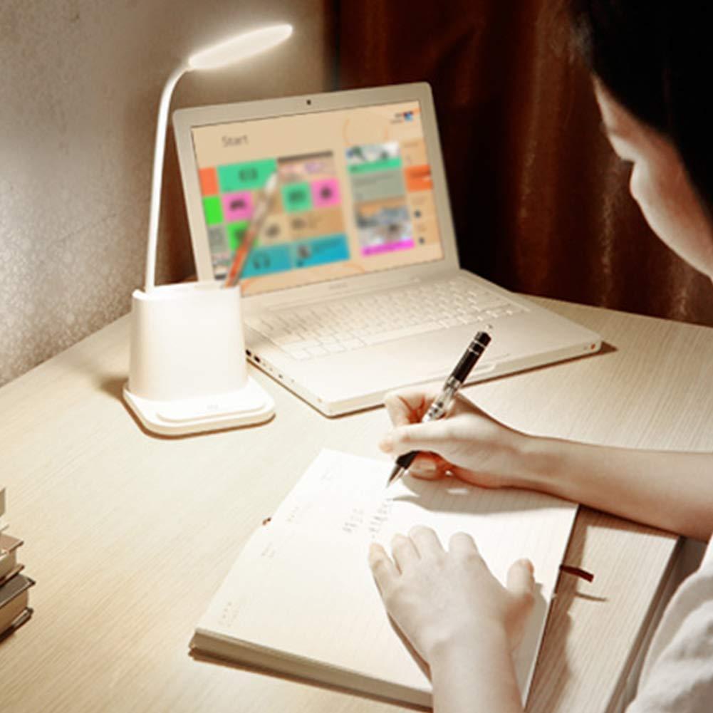 Lionina L/ámpara de Escritorio LED Multifunci/ón USB Wireless Conector y Salida 2 Modos de Color y Regulador de Intensidad Sin Ni/ños Blanco Oficina Tama/ño Libre